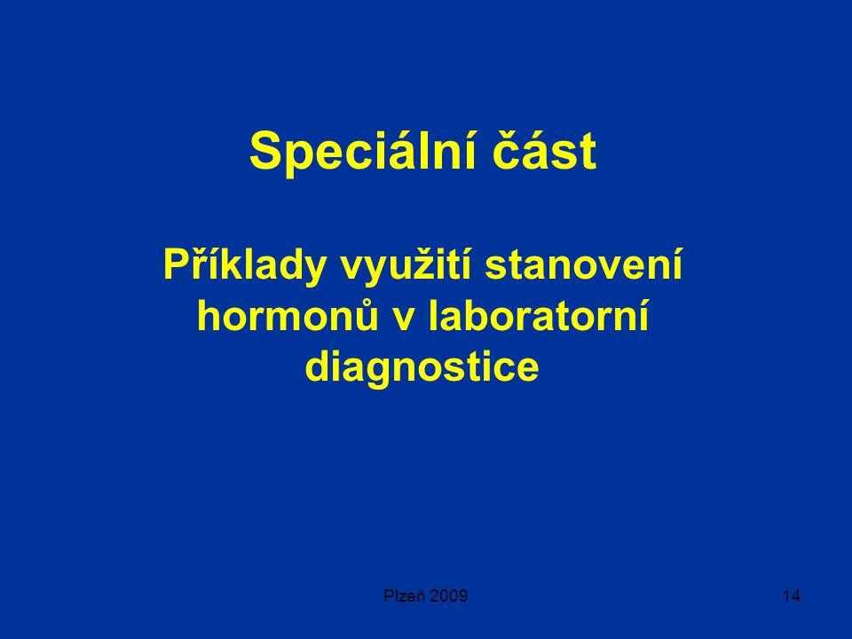 Plzeň 200914 Speciální část Příklady využití stanovení hormonů v laboratorní diagnostice