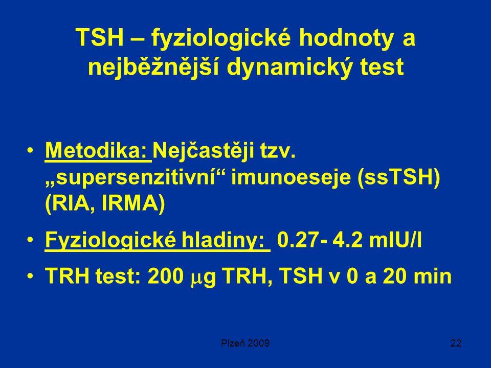 Plzeň 200922 TSH – fyziologické hodnoty a nejběžnější dynamický test Metodika: Nejčastěji tzv.