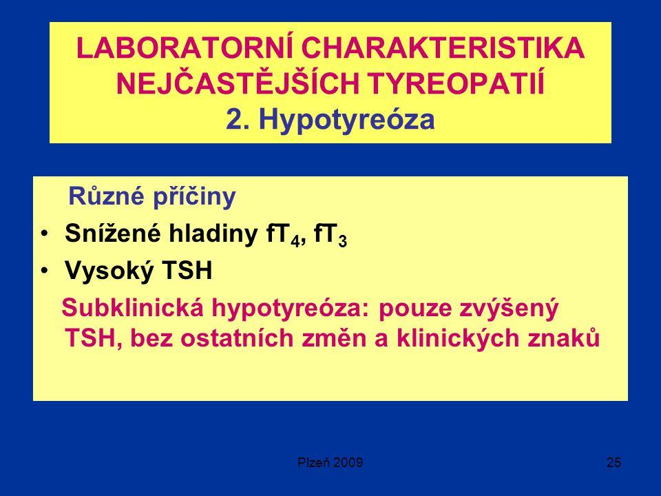 Plzeň 200925 LABORATORNÍ CHARAKTERISTIKA NEJČASTĚJŠÍCH TYREOPATIÍ 2.