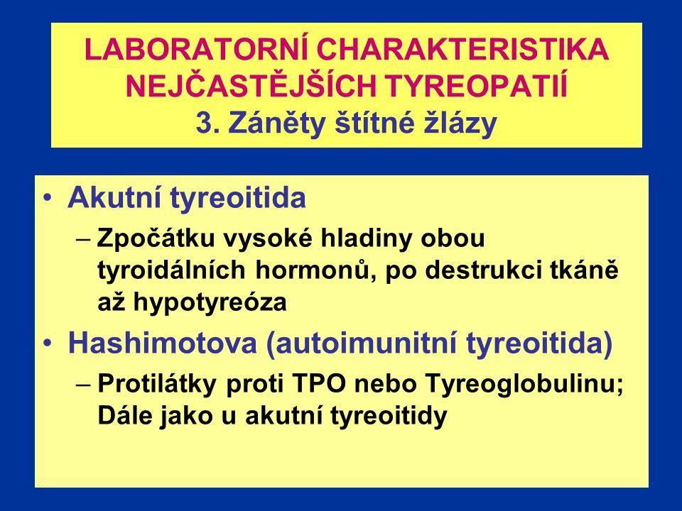 Plzeň 200926 LABORATORNÍ CHARAKTERISTIKA NEJČASTĚJŠÍCH TYREOPATIÍ 3.