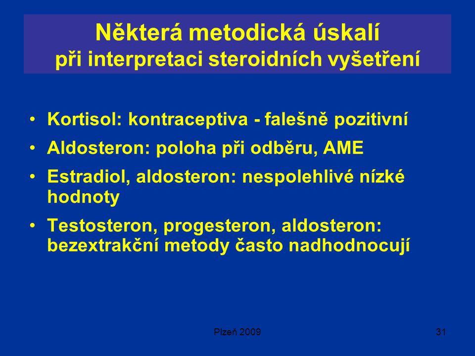 Plzeň 200931 Některá metodická úskalí při interpretaci steroidních vyšetření Kortisol: kontraceptiva - falešně pozitivní Aldosteron: poloha při odběru, AME Estradiol, aldosteron: nespolehlivé nízké hodnoty Testosteron, progesteron, aldosteron: bezextrakční metody často nadhodnocují