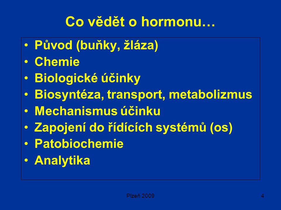 Plzeň 20094 Co vědět o hormonu… Původ (buňky, žláza) Chemie Biologické účinky Biosyntéza, transport, metabolizmus Mechanismus účinku Zapojení do řídících systémů (os) Patobiochemie Analytika