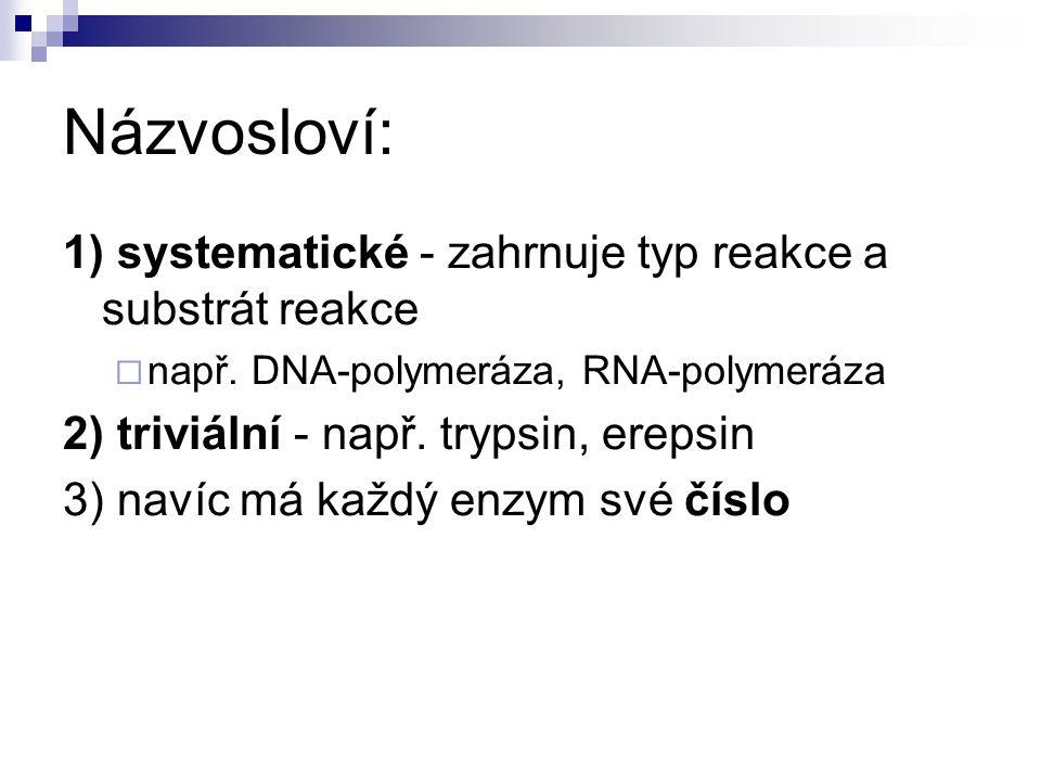 Názvosloví: 1) systematické - zahrnuje typ reakce a substrát reakce  např.