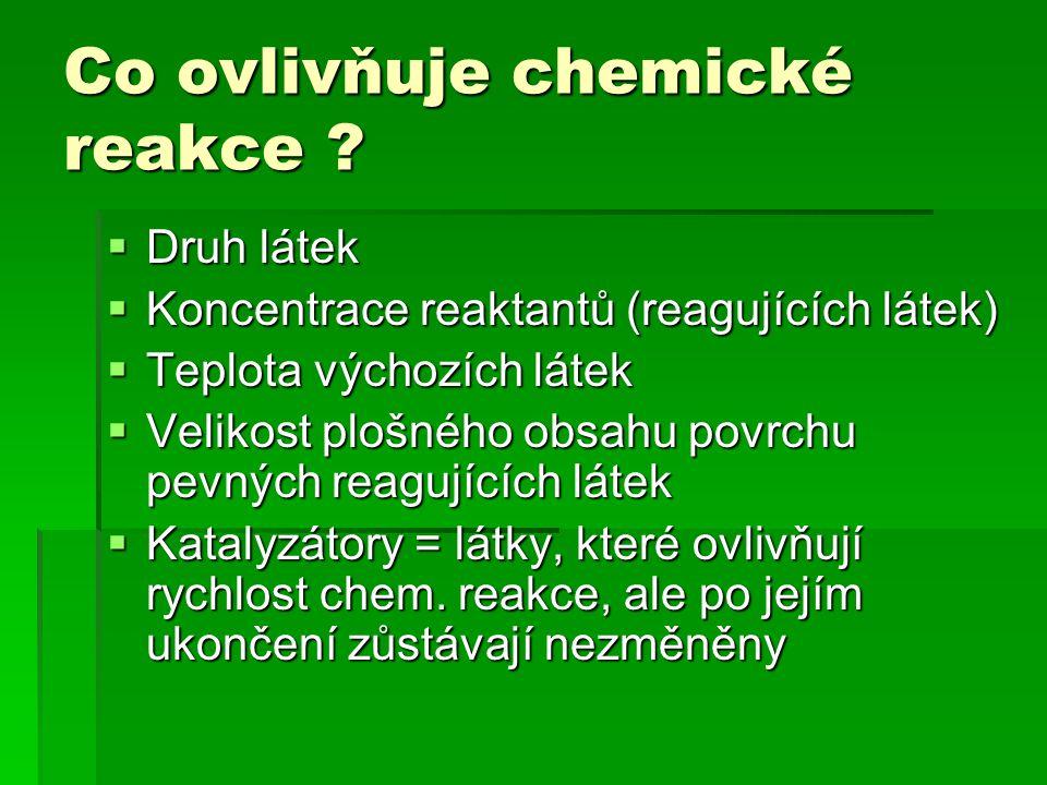 Co ovlivňuje chemické reakce .