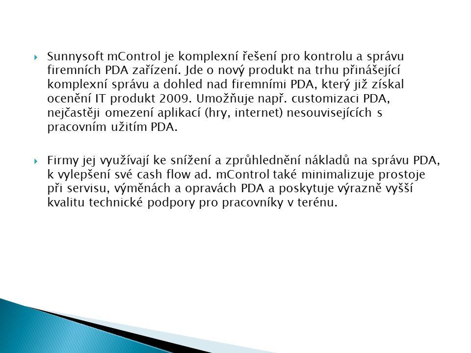  Sunnysoft mControl je komplexní řešení pro kontrolu a správu firemních PDA zařízení.