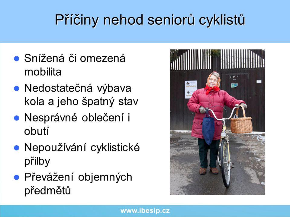 Snížená či omezená mobilita Nedostatečná výbava kola a jeho špatný stav Nesprávné oblečení i obutí Nepoužívání cyklistické přilby Převážení objemných
