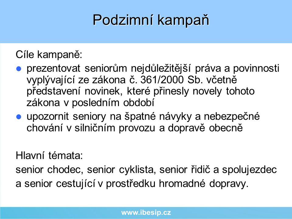 Cíle kampaně: prezentovat seniorům nejdůležitější práva a povinnosti vyplývající ze zákona č.