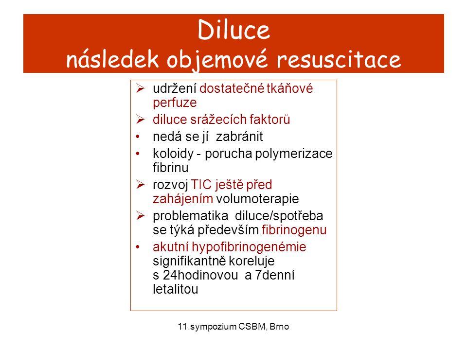 11.sympozium CSBM, Brno Diluce následek objemové resuscitace  udržení dostatečné tkáňové perfuze  diluce srážecích faktorů nedá se jí zabránit koloi