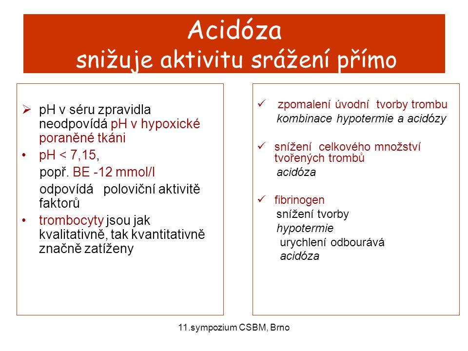 11.sympozium CSBM, Brno Acidóza snižuje aktivitu srážení přímo  pH v séru zpravidla neodpovídá pH v hypoxické poraněné tkáni pH < 7,15, popř. BE -12