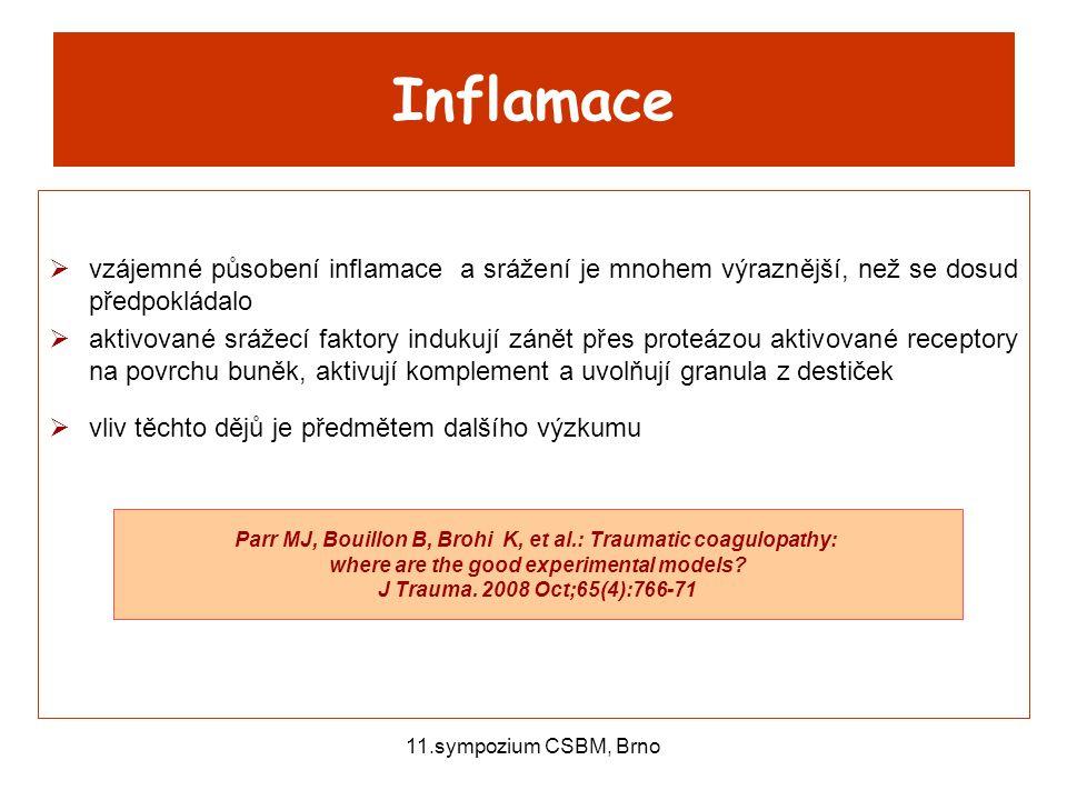 11.sympozium CSBM, Brno Inflamace  vzájemné působení inflamace a srážení je mnohem výraznější, než se dosud předpokládalo  aktivované srážecí faktor
