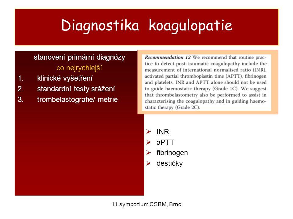 11.sympozium CSBM, Brno Diagnostika koagulopatie stanovení primární diagnózy co nejrychlejší 1.klinické vyšetření 2.standardní testy srážení 3.trombel