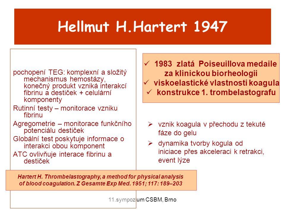11.sympozium CSBM, Brno Hellmut H.Hartert 1947 pochopení TEG: komplexní a složitý mechanismus hemostázy, konečný produkt vzniká interakcí fibrinu a de