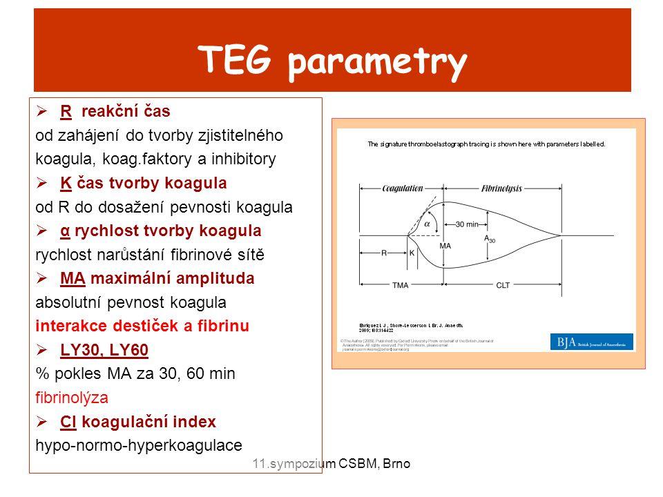 11.sympozium CSBM, Brno TEG parametry  R reakční čas od zahájení do tvorby zjistitelného koagula, koag.faktory a inhibitory  K čas tvorby koagula od