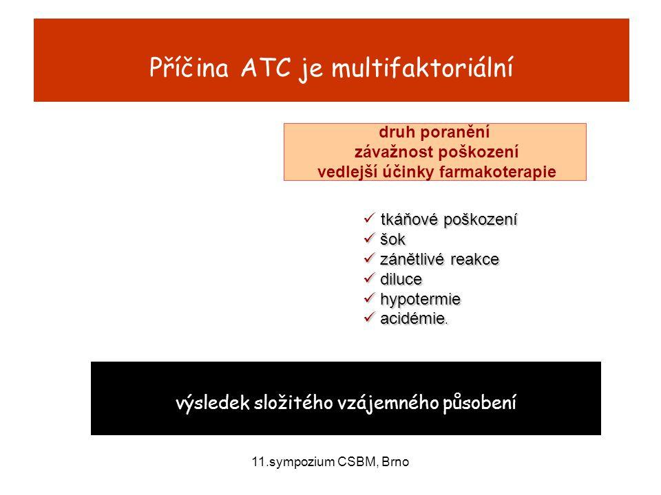 11.sympozium CSBM, Brno Poranění tkání startovací bod  mnohočetné poškození endotelu  přímé uvolnění subendoteliálního kolagenu typu III, tkáňového faktoru  přímé uvolnění aktivátoru tkáňového plasminogenu (t-PA)  časná aktivace faktorů X, II, V, VIII.