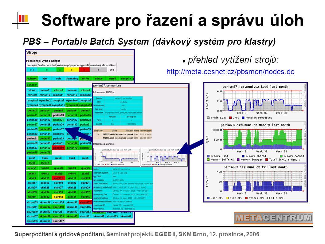Nevýhody přímého použití dávkových systémů: nutná znalost front, vlastností uživatel musí znát poměrně dost informací o systému kopírování vstupních dat na výpočetní uzel a stažení výsledku musí zajistit váš skript :-( paralelní úlohy - speciální volby ve spouštěcím skriptu ohledně architektury (shmem, p4, mpich-gm) nastavení cest k software – uživatel musí opět znát, co je kde nainstalováno, jakou architekturu použít => různé skripty pro různé architektury :-( informace o úloze svázané s identifikačním číslem jobu => při velkém množství úloh neúnosné Software pro řazení a správu úloh Superpočítání a gridové počítání, Seminář projektu EGEE II, SKM Brno, 12.