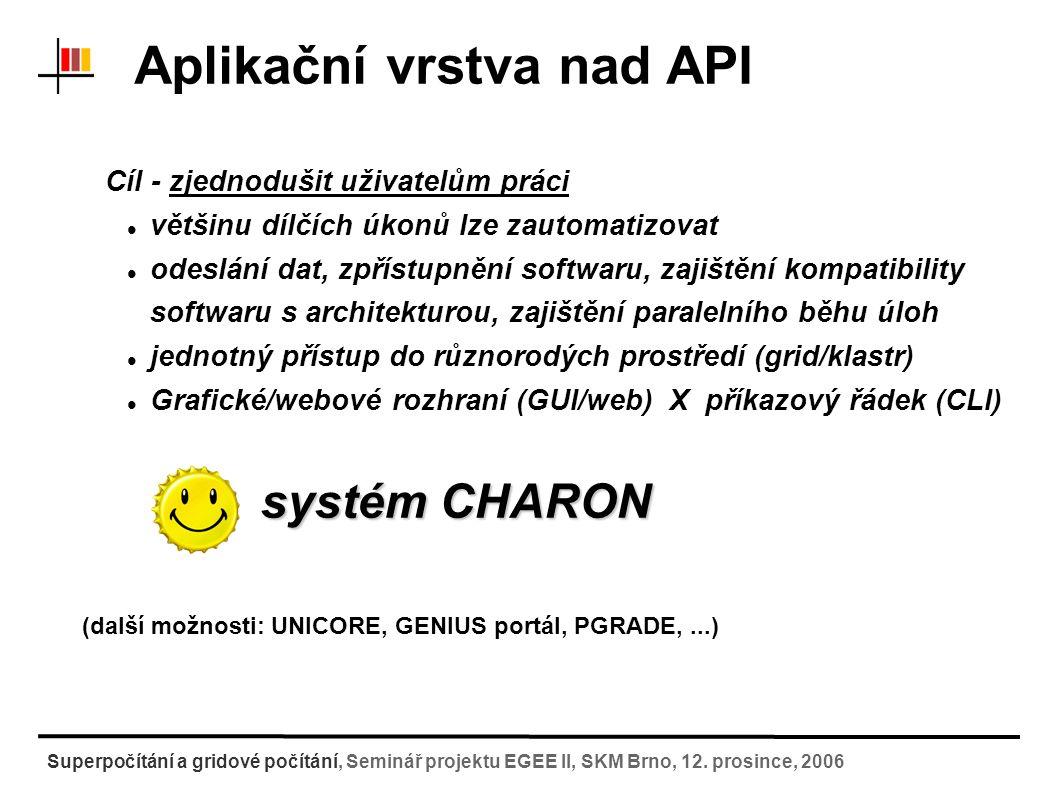 Systém CHARON CHARON komplexní nadstavba na dávkovými/gridovými systémy zajišťující sjednocený přístup k využívání výpočetních zdrojů nástroj pro správu a údržbu aplikací v těchto systémech nástroj pro sjednocené odesílání a sledování úloh Proč CHARON.
