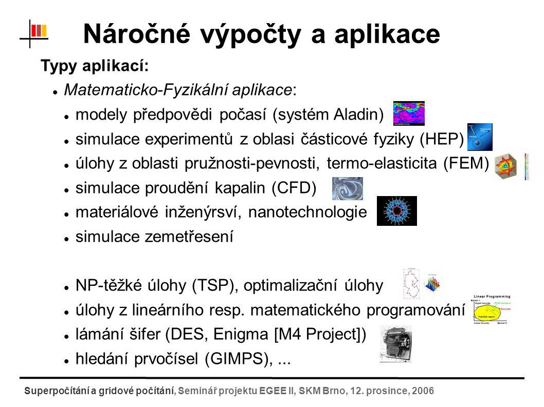 Náročné výpočty a aplikace Typy aplikací: Chemické-biologické aplikace: simulace chování biologických systémů ( Molekulová dynamika ) návrhy léčiv (studium interakce enzym X léčivo) molekulové dokování a konformační analýza molekul zkoumání reakčních mechanizmů (tranzitní stavy, odhady energetických rozdílů pro reakční cestu, výpočty volné energie ) protein folding simulace chování organismů v prostředí šíření epidemií v prostředí Superpočítání a gridové počítání, Seminář projektu EGEE II, SKM Brno, 12.