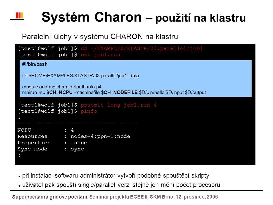 Systém Charon – použití na klastru Superpočítání a gridové počítání, Seminář projektu EGEE II, SKM Brno, 12.