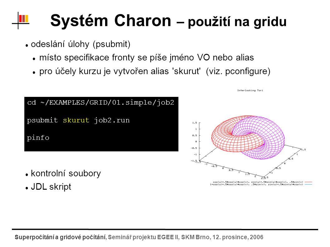 Systém Charon – další informace Dokumentace Charon:http://troll.chemi.muni.cz/whitezone/development/charonhttp://troll.chemi.muni.cz/whitezone/development/charon Softwarový repositář:http://troll.chemi.muni.cz/whitezone/development/charon/isoftr epo/http://troll.chemi.muni.cz/whitezone/development/charon/isoftr epo/ Superpočítání a gridové počítání, Seminář projektu EGEE II, SKM Brno, 12.