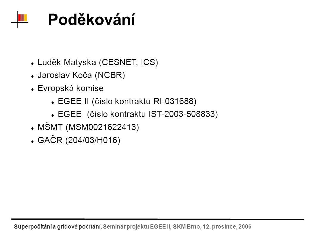 Prostor pro dotazy Superpočítání a gridové počítání, Seminář projektu EGEE II, SKM Brno, 12.