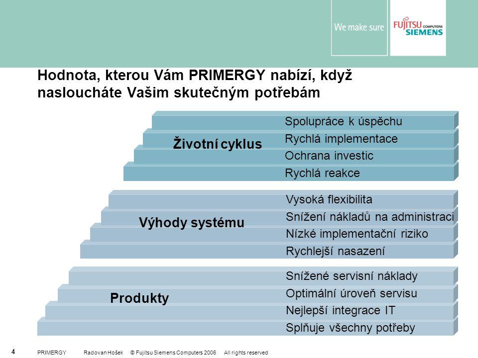 PRIMERGY Radovan Hošek © Fujitsu Siemens Computers 2006 All rights reserved 4 Produkty Životní cyklus Výhody systému Hodnota, kterou Vám PRIMERGY nabí