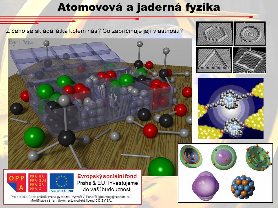 """Atomovová a jaderná fyzika Z čeho se skládá látka kolem nás? Co zapříčiňuje její vlastnosti? Pro projekt """"Cesta k vědě"""" (veda.gymjs.net) vytvořil V. P"""