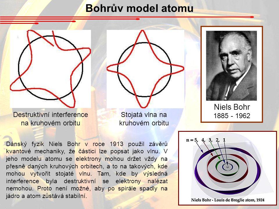 Bohrův model atomu Niels Bohr 1885 - 1962 Dánský fyzik Niels Bohr v roce 1913 použil závěrů kvantové mechaniky, že částici lze popsat jako vlnu. V jeh