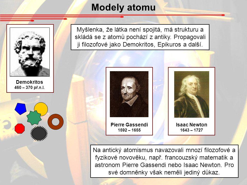 Modely atomu Demokritos 460 – 370 př.n.l. Myšlenka, že látka není spojitá, má strukturu a skládá se z atomů pochází z antiky. Propagovali ji filozofov