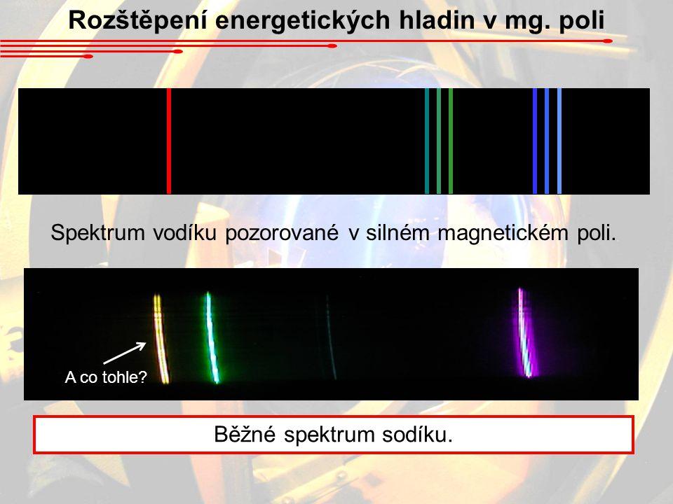 Rozštěpení energetických hladin v mg. poli Spektrum vodíku pozorované v silném magnetickém poli. Běžné spektrum sodíku. A co tohle?
