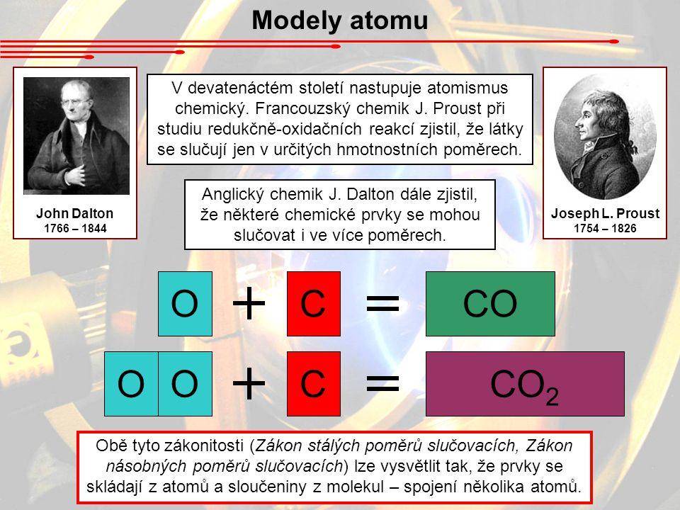 Modely atomu V devatenáctém století nastupuje atomismus chemický. Francouzský chemik J. Proust při studiu redukčně-oxidačních reakcí zjistil, že látky