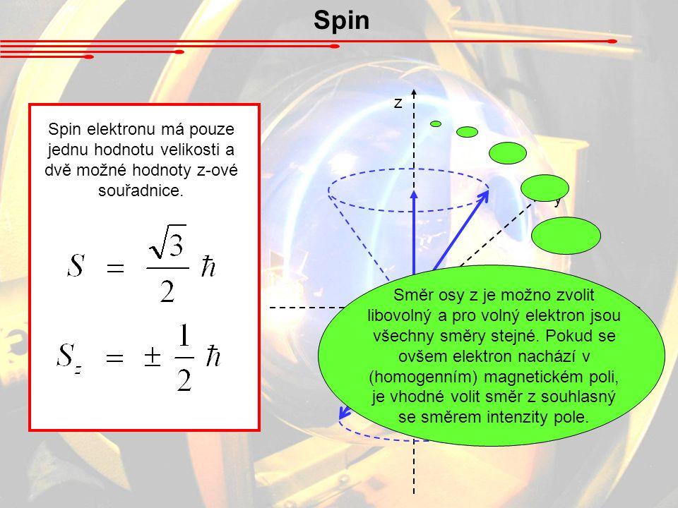 Spin z x y Spin elektronu má pouze jednu hodnotu velikosti a dvě možné hodnoty z-ové souřadnice. Směr osy z je možno zvolit libovolný a pro volný elek