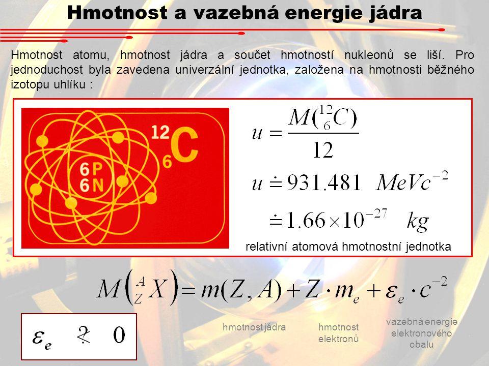 Hmotnost a vazebná energie jádra Hmotnost atomu, hmotnost jádra a součet hmotností nukleonů se liší. Pro jednoduchost byla zavedena univerzální jednot