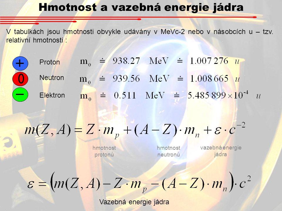 Hmotnost a vazebná energie jádra V tabulkách jsou hmotnosti obvykle udávány v MeVc-2 nebo v násobcích u – tzv. relativní hmotnosti : Proton Neutron El