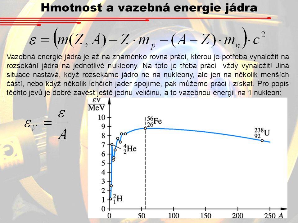 Hmotnost a vazebná energie jádra Vazebná energie jádra je až na znaménko rovna práci, kterou je potřeba vynaložit na rozsekání jádra na jednotlivé nuk