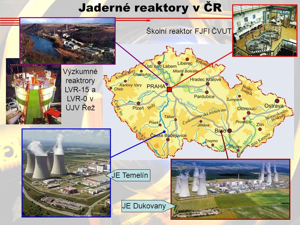 Jaderné reaktory v ČR JE Temelín JE Dukovany Výzkumné reaktrory LVR-15 a LVR-0 v ÚJV Řež Školní reaktor FJFI ČVUT
