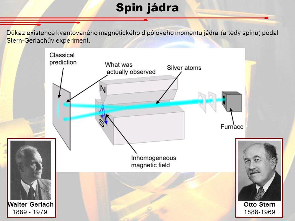 Spin jádra Důkaz existence kvantovaného magnetického dipólového momentu jádra (a tedy spinu) podal Stern-Gerlachův experiment. Otto Stern 1888-1969 Wa