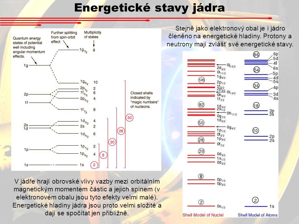 Energetické stavy jádra Stejně jako elektronový obal je i jádro členěno na energetické hladiny. Protony a neutrony mají zvlášť své energetické stavy.