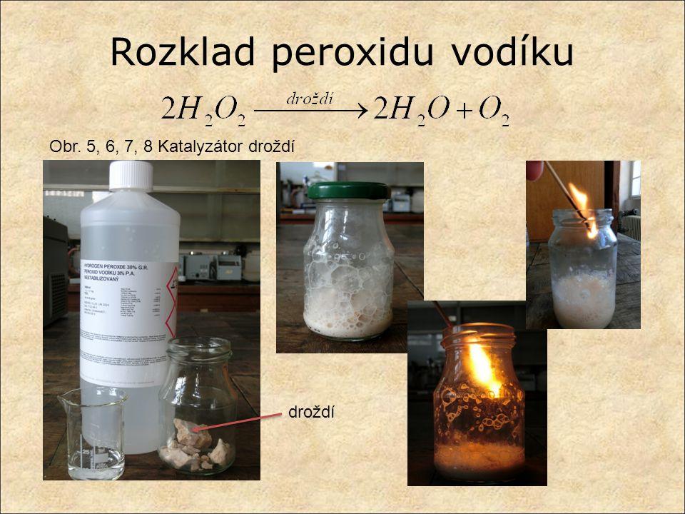 Obr. 5, 6, 7, 8 Katalyzátor droždí droždí Rozklad peroxidu vodíku