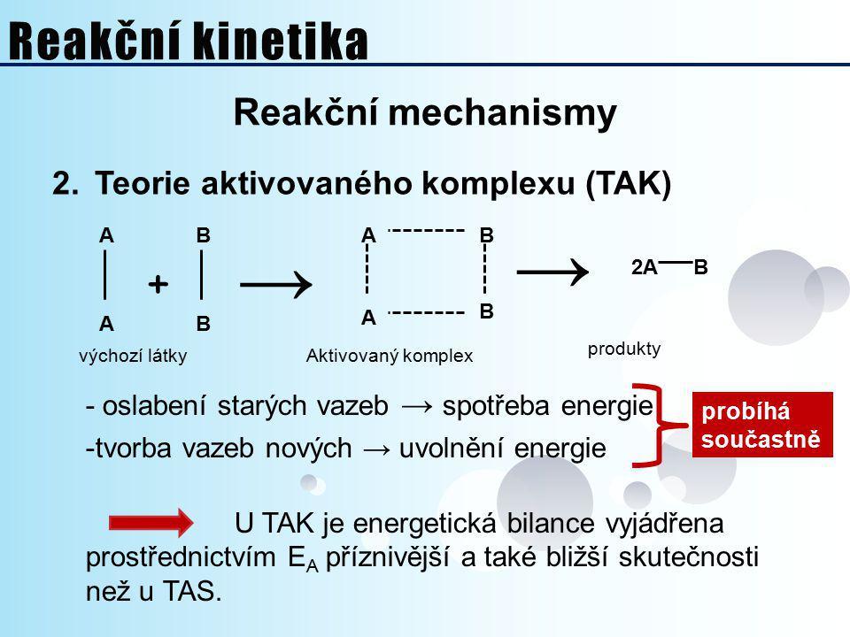 Reakční mechanismy 2.Teorie aktivovaného komplexu (TAK) B BA B B A A A + → → 2AB výchozí látkyAktivovaný komplex produkty - oslabení starých vazeb → s