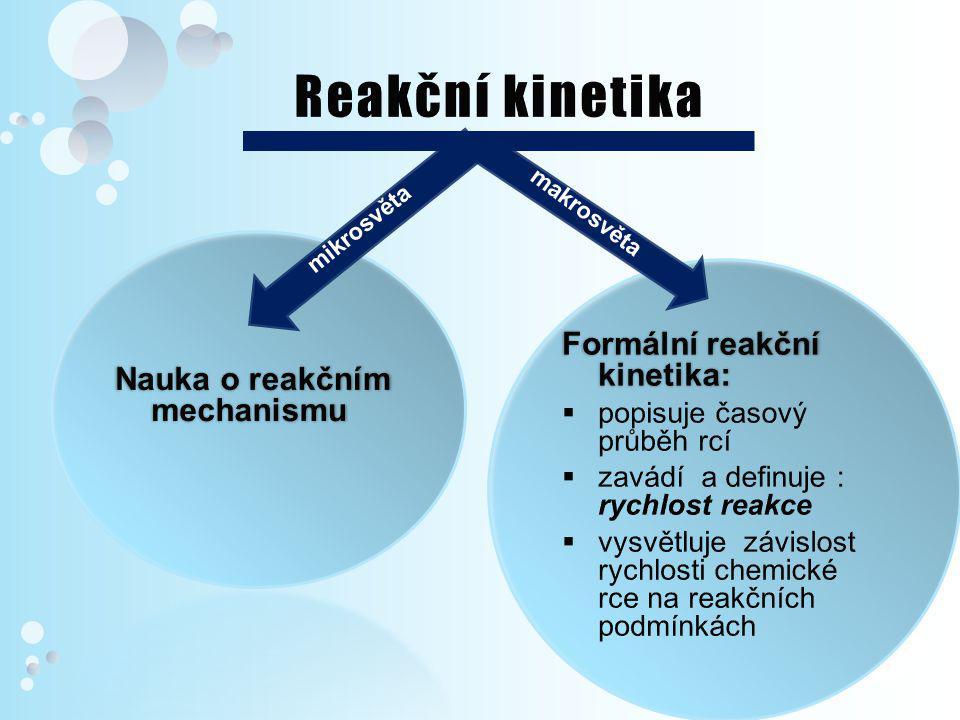 Pohled z makrosvěta FORMÁLNÍ REAKČNÍ KINETIKA 1.Vliv koncentrace na průběh chemické rce  Rychlost chem.