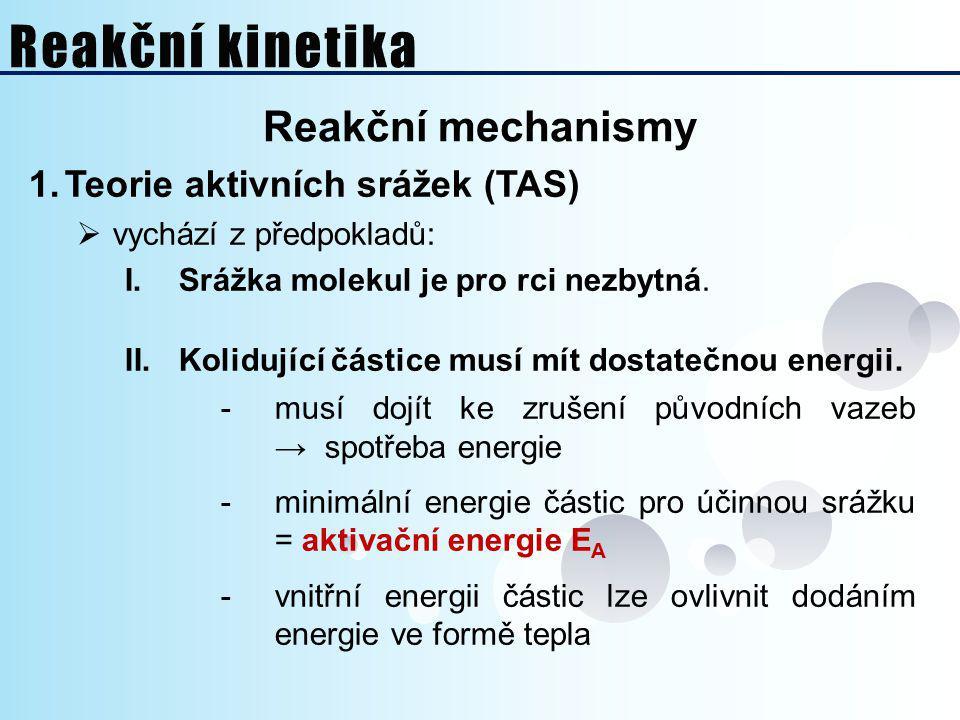 Pohled z makrosvěta FORMÁLNÍ REAKČNÍ KINETIKA 3.Vliv katalyzátorů na průběh chemické rce  typy katalyzátorů: 1.Pozivní – aktivátory: ‒ snižují aktivační energii → urychlují reakci 2.Negativní – inhibitory: ‒ zvyšují aktivační energii → zpomalují reakci