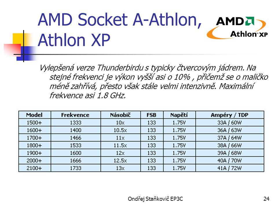 Ondřej Staňkovič EP3C24 AMD Socket A-Athlon, Athlon XP Vylepšená verze Thunderbirdu s typicky čtvercovým jádrem. Na stejné frekvenci je výkon vyšší as