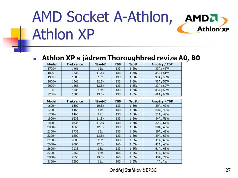 Ondřej Staňkovič EP3C27 AMD Socket A-Athlon, Athlon XP Athlon XP s jádrem Thoroughbred revize A0, B0