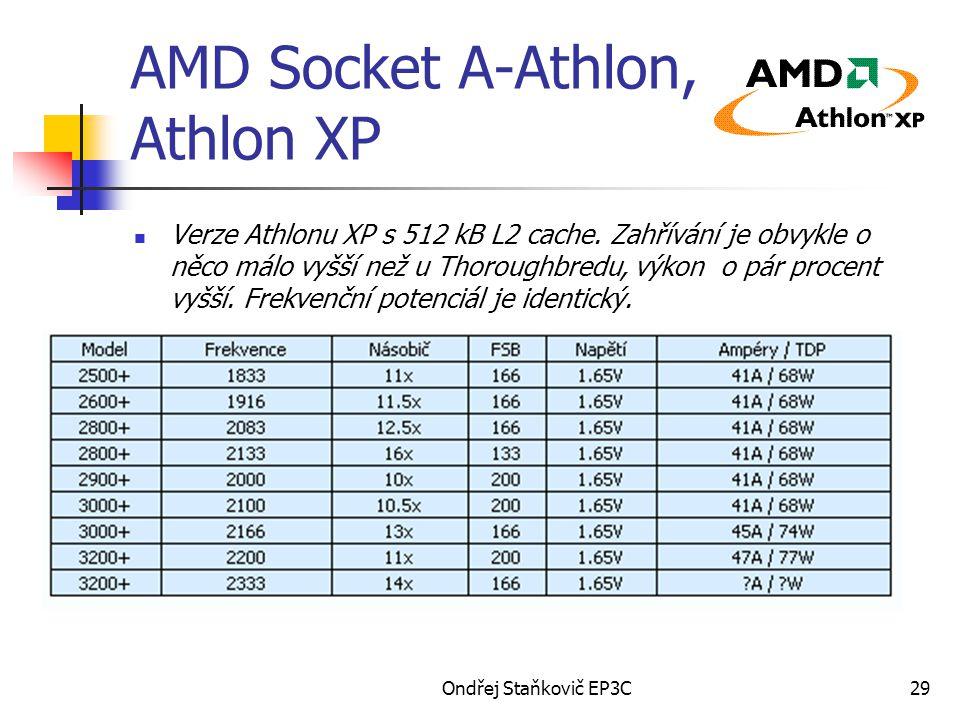 Ondřej Staňkovič EP3C29 AMD Socket A-Athlon, Athlon XP Verze Athlonu XP s 512 kB L2 cache. Zahřívání je obvykle o něco málo vyšší než u Thoroughbredu,