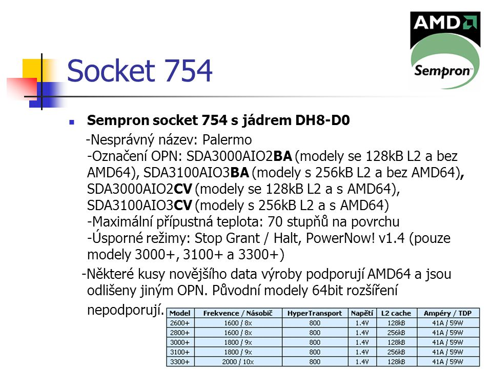 Ondřej Staňkovič EP3C36 Socket 754 Sempron socket 754 s jádrem DH8-D0 -Nesprávný název: Palermo -Označení OPN: SDA3000AIO2BA (modely se 128kB L2 a bez