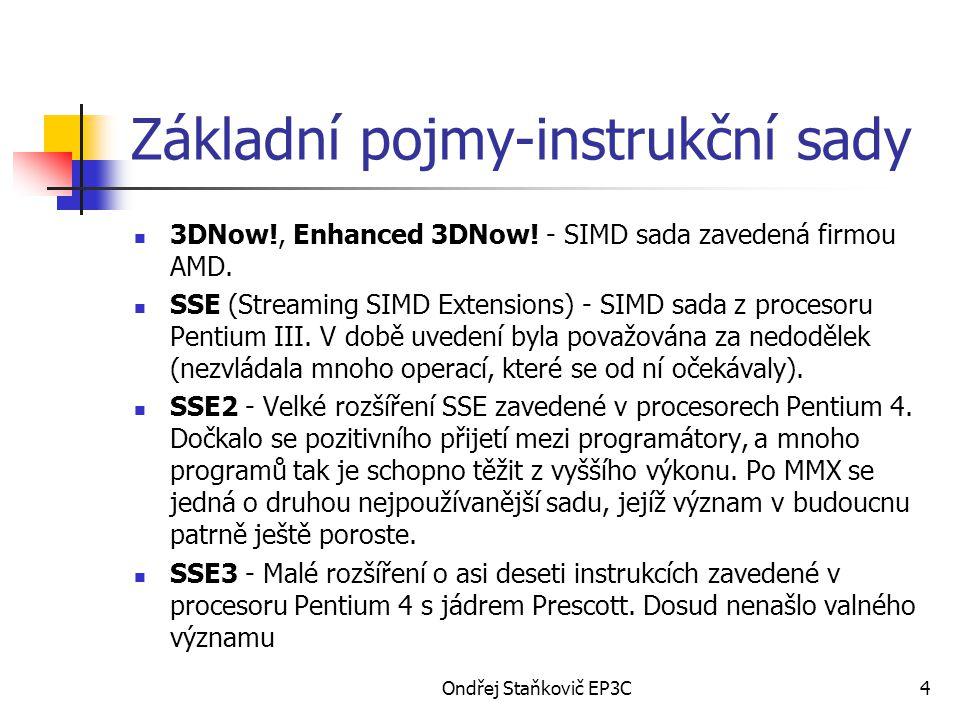 Ondřej Staňkovič EP3C4 Základní pojmy-instrukční sady 3DNow!, Enhanced 3DNow! - SIMD sada zavedená firmou AMD. SSE (Streaming SIMD Extensions) - SIMD