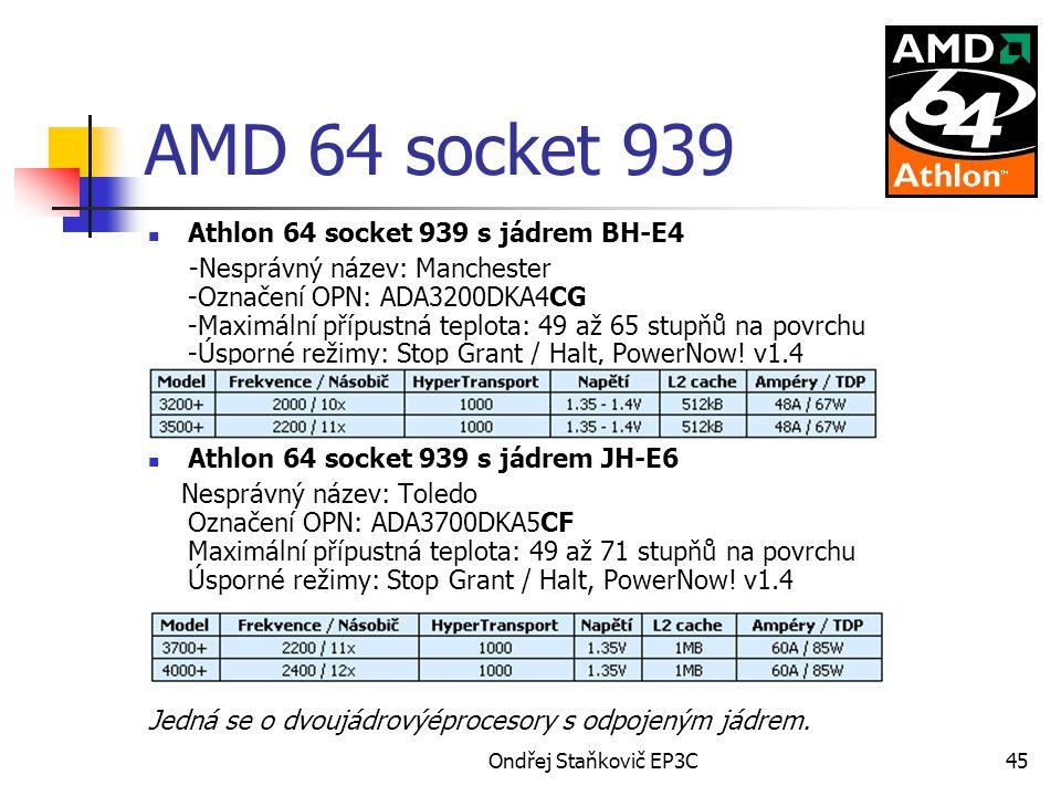 Ondřej Staňkovič EP3C45 AMD 64 socket 939 Athlon 64 socket 939 s jádrem BH-E4 -Nesprávný název: Manchester -Označení OPN: ADA3200DKA4CG -Maximální pří