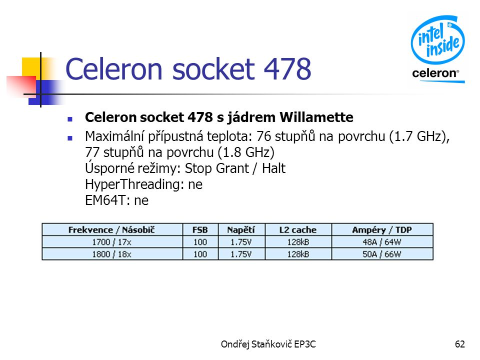 Ondřej Staňkovič EP3C62 Celeron socket 478 Celeron socket 478 s jádrem Willamette Maximální přípustná teplota: 76 stupňů na povrchu (1.7 GHz), 77 stupňů na povrchu (1.8 GHz) Úsporné režimy: Stop Grant / Halt HyperThreading: ne EM64T: ne