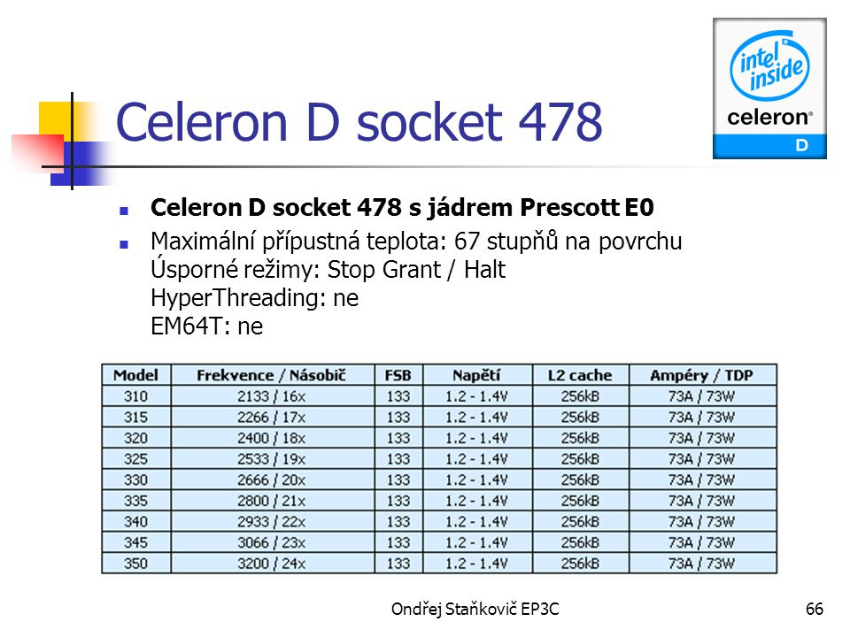 Ondřej Staňkovič EP3C66 Celeron D socket 478 Celeron D socket 478 s jádrem Prescott E0 Maximální přípustná teplota: 67 stupňů na povrchu Úsporné režim