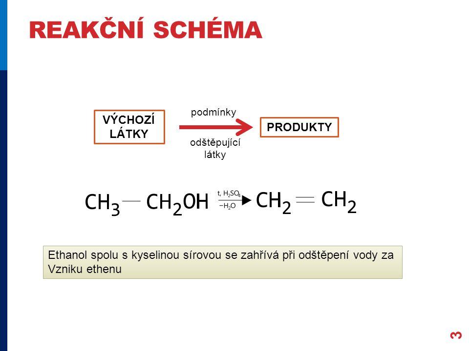 REAKČNÍ SCHÉMA 3 VÝCHOZÍ LÁTKY PRODUKTY podmínky odštěpující látky Ethanol spolu s kyselinou sírovou se zahřívá při odštěpení vody za Vzniku ethenu